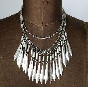 3 chain metal Tribal boho bib statement necklace